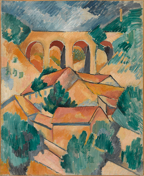 Georges Braque Le Viaduc de l'Estaque, début 1908 Huile sur toile  72,5 x 59 cm Centre Pompidou, Musée national d'art moderne, Paris Dation, 1984 © Georges Braque, VEGAP, Bilbao, 2014 Photo © Georges Meguerditchian